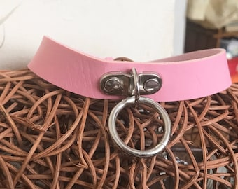 Faux Leather choker collar necklace with o ring