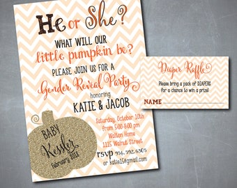 """Fall Gender Reveal Invitation...""""Little Pumpkin"""" with matching Diaper Raffle Ticket/Digital files or printing/wording can be changed"""
