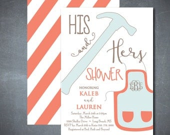 HIS and HERS Shower Invitation printable, His and Hers Couples Shower, Tool and Gadget Shower, Couples Wedding Shower/Colors can be changed