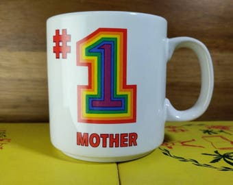 Vintage 1980's Rainbow #1 Mother Mug by Papel