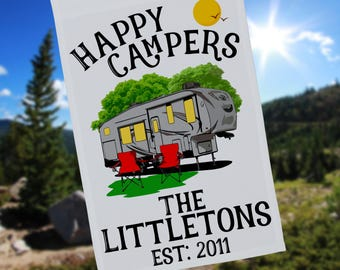 Happy Campers Personalized 5th Wheel Garden Flag, Large 5th Wheel Campsite Flag, RV Gift, 5th Wheel Camp Sign, Stand not included