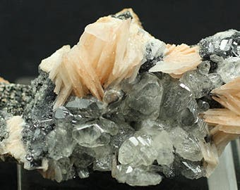 Cerussite crystals on pink bladed Barite, Morocco - Mineral Specimen for Sale