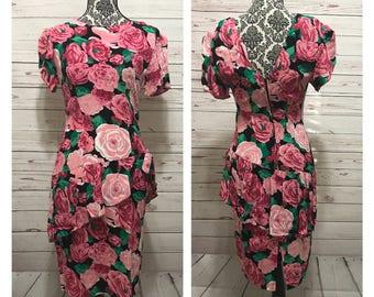 Vintage 80s Dress   80s Party Dress   Peplum Dress