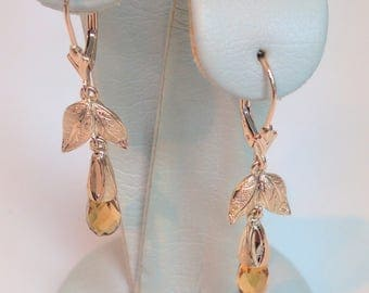 14K Yellow Gold Antique Arts and Crafts Citrine Briolette Earrings