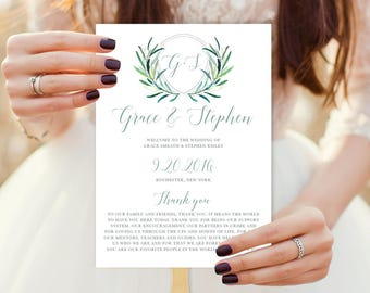 Greenery Wedding Program Fan / Eucalyptus Crest / Initial Monogram Crest, Eucalyptus Leaves  ▷ Printable {or} Printed *** ASSEMBLY REQUIRED
