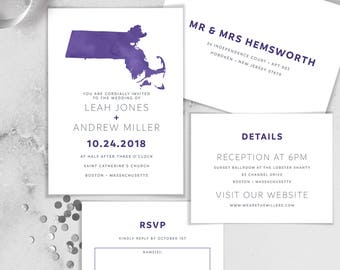 Ultra Violet Wedding Invitation Set / Purple Watercolor Map, Wedding Map, Heart, Boston Wedding Invite ▷ Printed Invitations {or} Printable