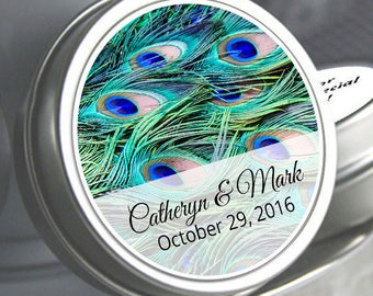 125  Peacock Mint Tins - Wedding Decor - Wedding Favors - Wedding Mints - Peacock Feathers - Personalized Wedding Tin Mints - Peacock Favors