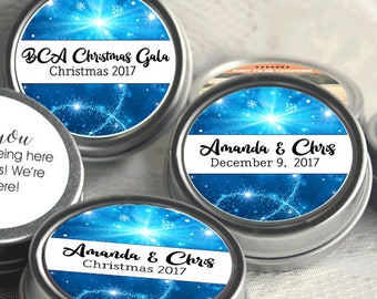 Personalized Christmas Mint Tins, Corporate Christmas Favors, Wedding Favors, Mint Favor Tins, Christmas Decor- Set of 12, Party Ideas