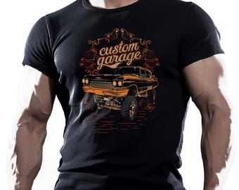 Custom  Garage Retro Hotrod Car Chopper   mens t shirt tees