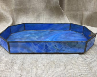 "Blue Art Glass Stained Glass Leaded Octangular Vanity Tray with Butterfly 10 1/4"" long"