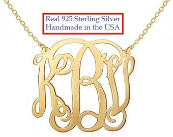 Personalized Monogram Necklace, 1.25 inch 18k Gold plated Any initial Monogram made with 925 silver