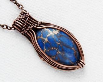Mom boho gift - girlfriend boho gift - 3 sisters gift - royal blue pendant - navy blue pendant - imperial blue jasper - blue imperial jasper