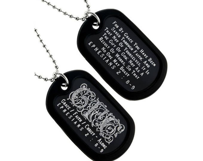 "Dog Tag Necklace  ""Grace/Faith/Christ - Alone"" Triplegram Double Sided Engraved"