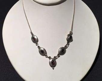 Vintage Garnet Necklace...Sterling Silver necklace...Handmade Vintage necklace ...Ethnic...Hippy...Gypsy...Vintage Shop