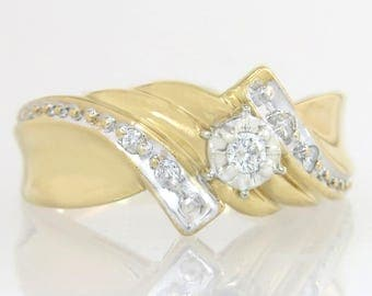 Estate 14K Yellow Gold .10ct Genuine Diamond Engagement Ring 4.3g