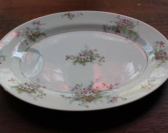 "Vintage Haviland New York Apple Blossom 14"" Oval Serving Platter"