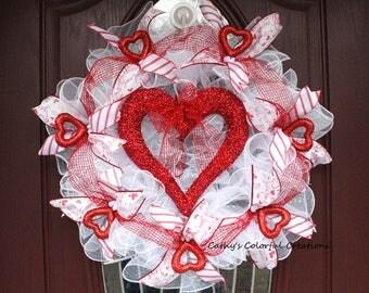 Valentine Wreath, Valentine's Day Wreath, Heart Wreath, Deco Mesh Heart Wreath, Red Heart Wreath, Valentine Door Decor, Valentine Heart