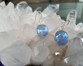 Blue Dichroic Glass Sterling Silver Earrings