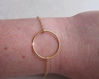 CIRCLE 14 k gold plated ring bracelet