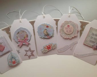 Set of 5 large tags with messages of love gift tags
