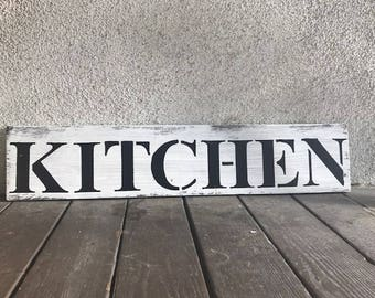 Distressed Kitchen Sign -  Kitchen Sign - Rustic Sign - Farmhouse Decor- Farmhouse - Rustic Kitchen Decor - Foodie Gift - Eat - Kitchen
