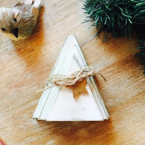 Christmas Tree Trio: Christmas Tree Trio Chalk Painted Solid Wood Holiday