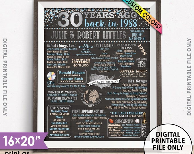 """30th Anniversary Gift, Flashback to 1988 Flashback 30 Years Married in 1988 Anniversary Poster, Chalkboard Style PRINTABLE 8x10/16x20"""" Sign"""