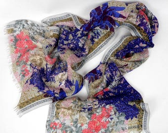 Kenzo Scarf, Kenzo Multicolored Scarf, Floral Motives Scarf, Kenzo Long Scarf, Kenzo Stole, Kenzo Neckerchief