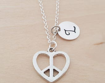 Heart Peace Sign Charm - Personalized Necklace - Custom Initial Necklace- Silver Necklace