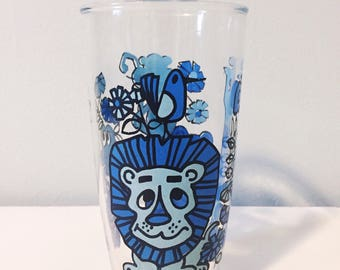 Vintage 1960's Zoo Animals Sour Cream Drinking Glass, Vintage Hazel Atlas Glass, Blue Animal Jungle Glass Cup