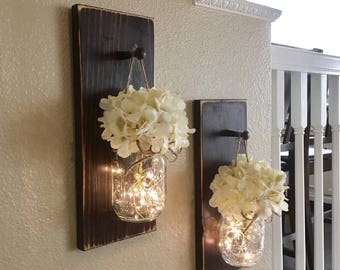 Home Decor, Mason Jar Sconces, Mason Jar Decor, Farmhouse Wall Decor, Rustic Part 76