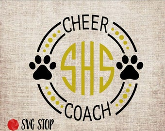 Paw Cheer Coach Monogram Frame - SVG, DXF, PNG, Jpg, Eps - Cut File - Silhouette, Cricut, Sublimation Printing - Instant Digital Download