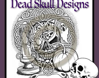 Halloween, Samhain, Colouring Page, Coloring Page, Digital Stamp, Celtic, Dead Skull Designs