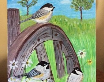 Acrylic chickadee painting