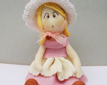 Doll pink handmade with cold porcelain clay collection miniature cake topper ooak