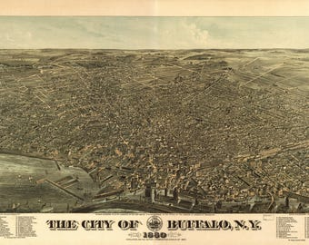 Buffalo NY Panoramic map dated 1880. This print is a wonderful wall decoration for Den, Office, Man Cave or any wall.