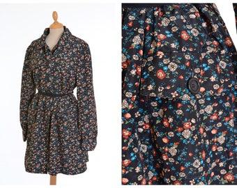 Vintage 1980s black floral print trench rain coat - size M