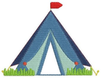 Camping tent embroidery machine design and his lamp