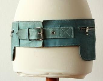 90s Leather Hip Bag Turquoise Blue Waist Small Bag Vintage Adjustable Real Genuine Leather Blue