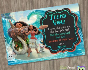 Moana Thank You Card, Moana Birthday Card, Moana Birthday, Disney Moana Birthday Decor, Moana Party, Hawaiian Party, Thank You Card