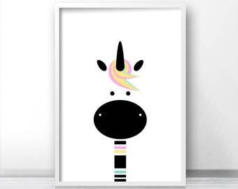 Unicorn Nursery Print, Girl Nursery Decor, Instant Download Printable Nursery Art, Digital Download Kids Print, Girls Room Art, Unicorn Art