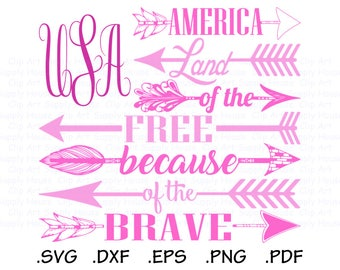 USA Flag SVG, Land of the Free Because of the Brave Clipart, usa png, Silhouette and Cricut Files, USA svg bundle, America svg designs CA512