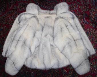 Outstanding Real Cross Mink Fur Batwing Dolman Sleeve Jacket Coat MINT Size M