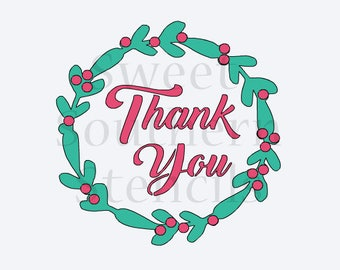 Thank You Wreath 2 Piece Cookie Stencil Set