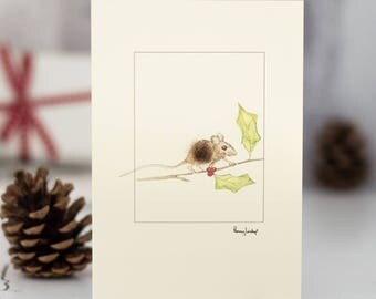 Christmas mouse festive Card, festive mouse Xmas card, mouse Christmas card, handmade holiday card