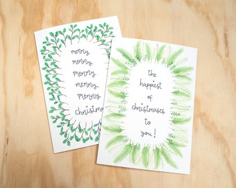 Christmas Cards Set // Pack of Four // Festive Foliage Greetings Cards // 4 Pack
