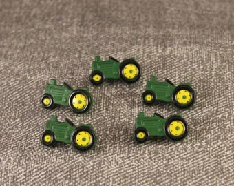 5 Green Tractor Buttons Shank Back