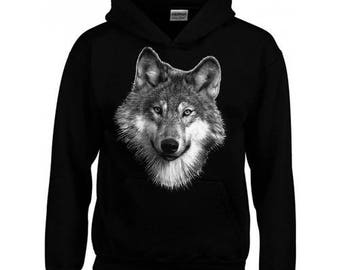 Sweatshirt black Hoodie - child-Wolf head
