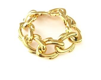 Vintage Gold Plated Modernist Style Chain Bracelet