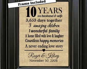 FRAMED Personalized 10th Anniversary Gift/10th Anniversary Gifts/Gift for him/Gift for her/Gift for couple/10th Anniversary gifts for men
